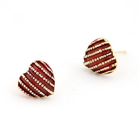 Tiny Red Heart Shaped Earring